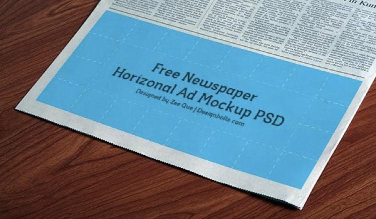 Horizontal Newspaper Advertisement Mockup