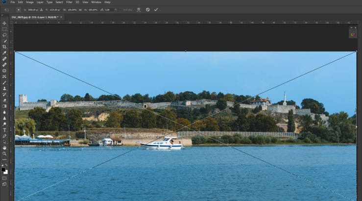 free transform tool in action photoshop