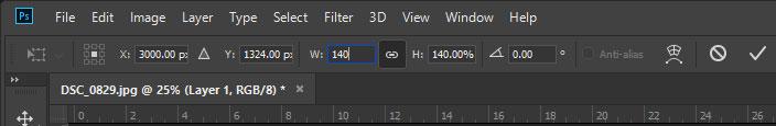 modify width free transform tool photoshop