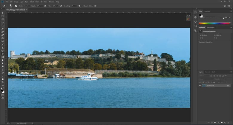 image of a boat opened in photoshop