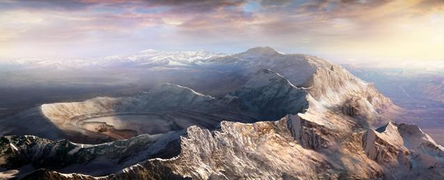 mountains viewed from top matte painting