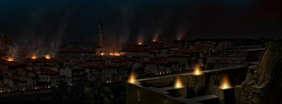 matte painting burning city
