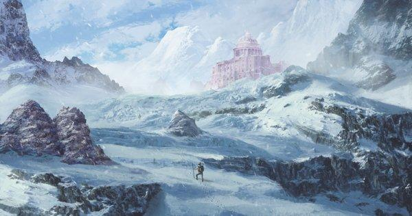 Matte painting snow castle mountains