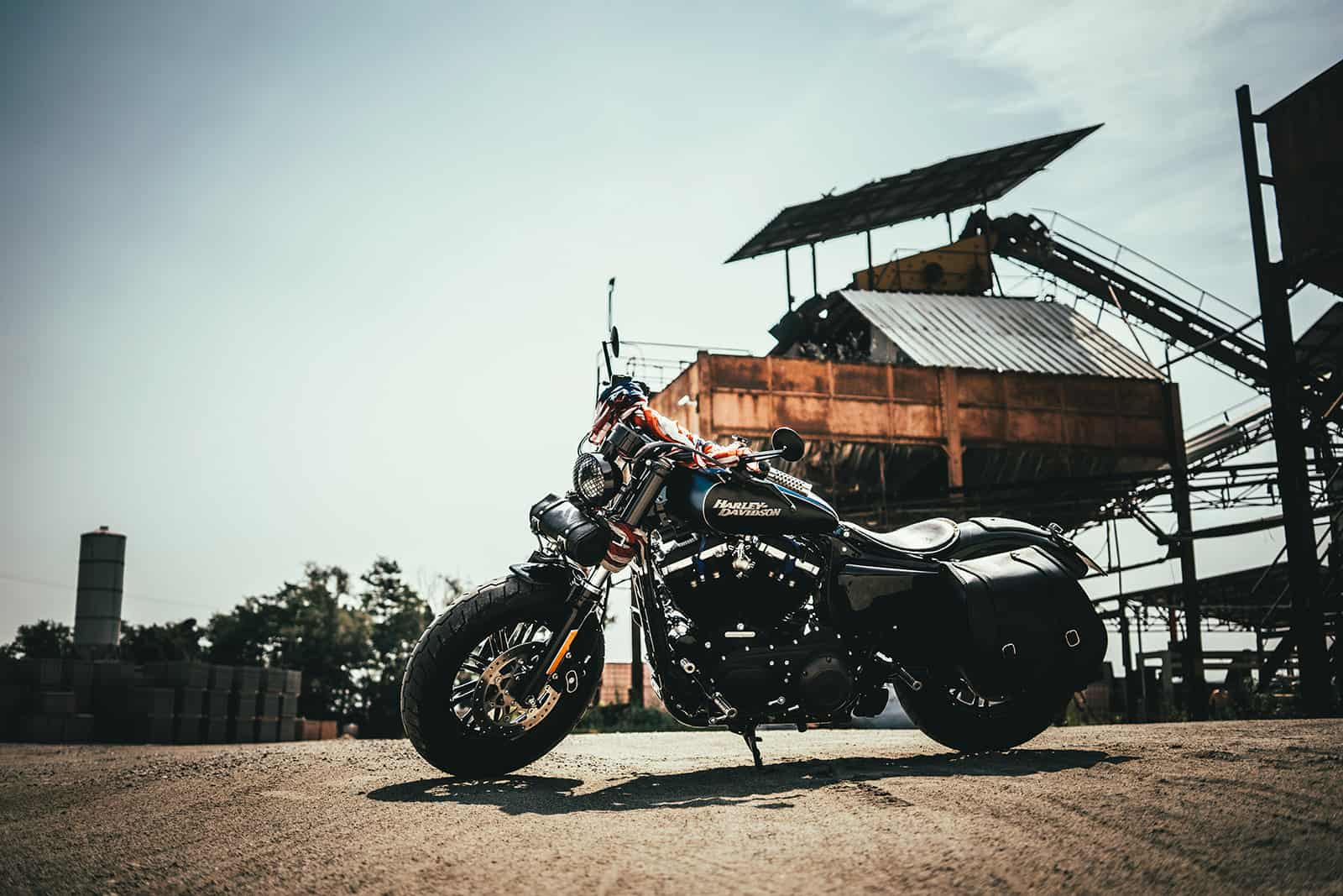 Motorbike with industrial background