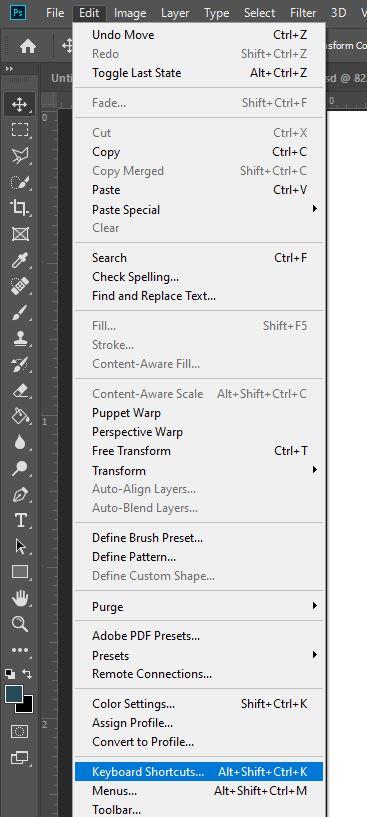 keyboard shortcut menu option in photoshop