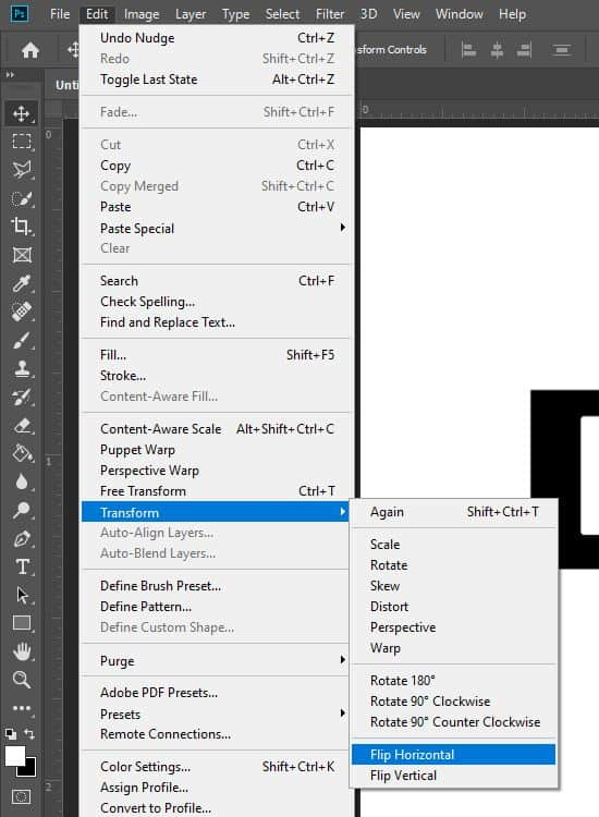 edit transform menu option photoshop