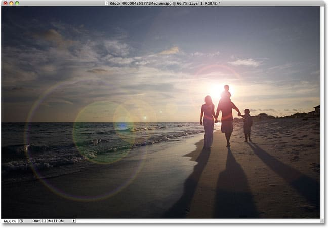 3: Non-Destructive Lens Flare Effect in Photoshop