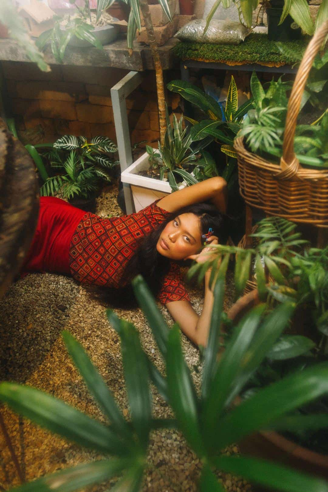 woman in interior garden
