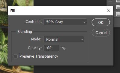 add 50% fill photoshop