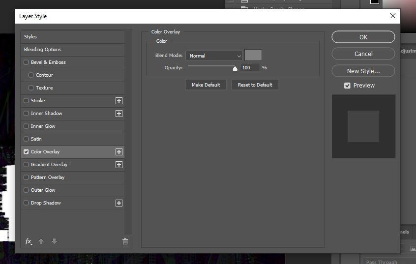 photoshop layer style option panel