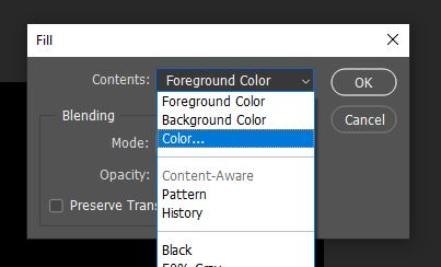 fill layer with color photoshop