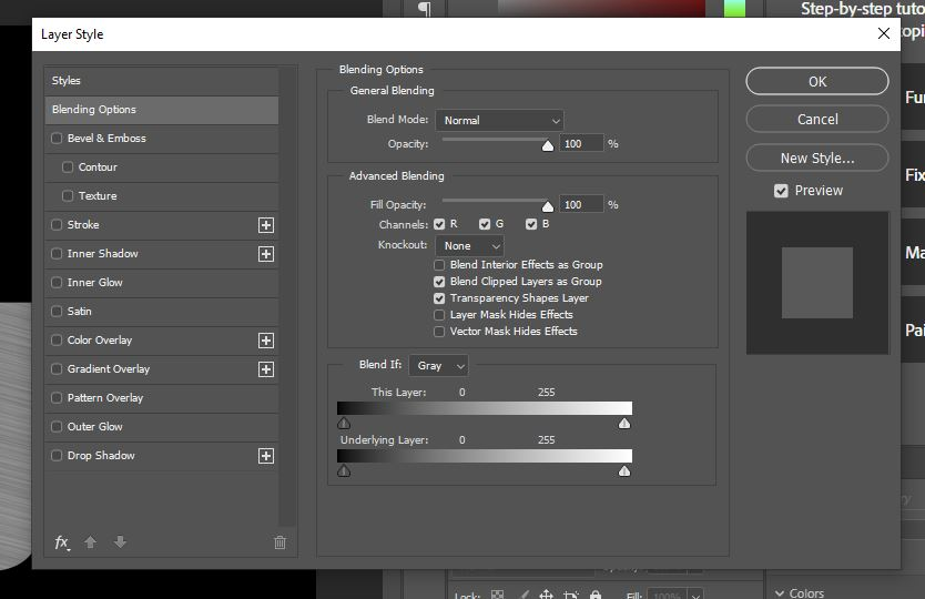 layer blending options