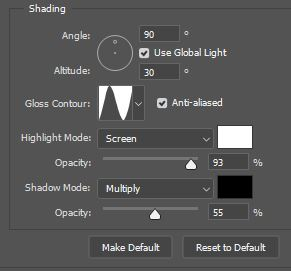 photoshop shading option bevel and emboss