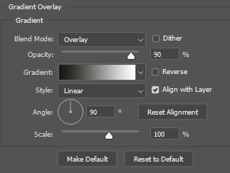gradient overlay option window photoshop