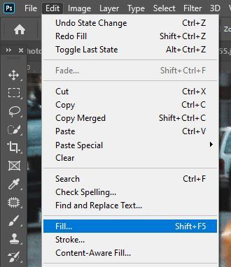 photoshop edit and fill selection