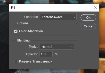 content-aware fill option panel photoshop