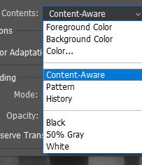 content-aware fill menu option photoshop