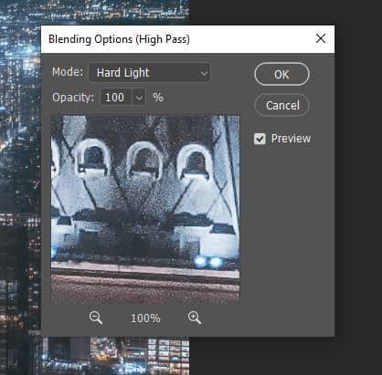 hard light high pass blending option photoshop