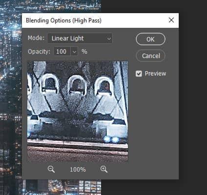 linear light high pass blending option photoshop