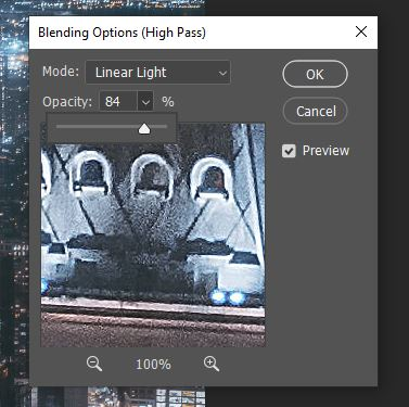 linear light blending mode of high pass filter in photoshop