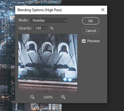 overlay high pass blending option photoshop