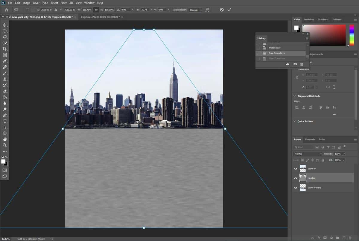 perspective transform tool in photoshop