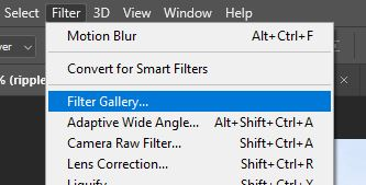 filter gallery menu option in photoshop