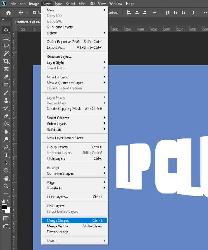 photoshop layer merge shapes