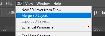 photoshop merge 3d layers