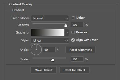 photoshop gradient overlay settings