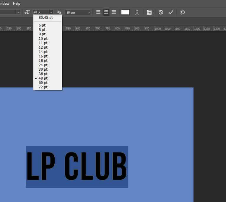 text size menu photoshop
