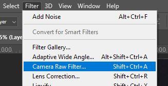 camera raw filter Photoshop