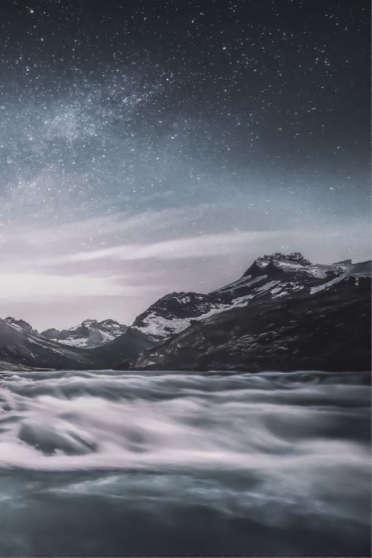 mountain with stars