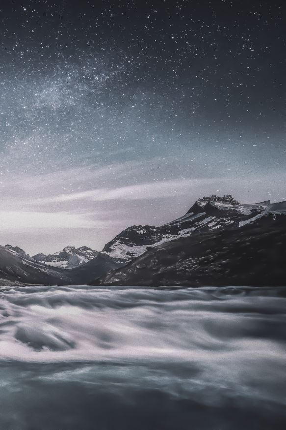 mountains with stars