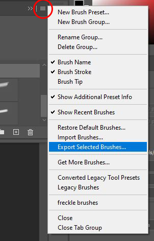 photoshop export selected brushes
