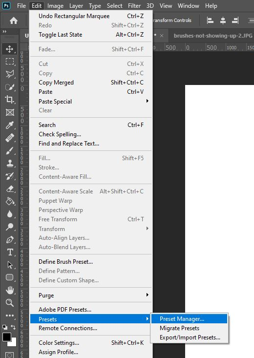 photoshop preset manager