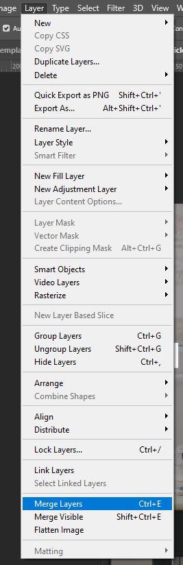 Photoshop merge layers