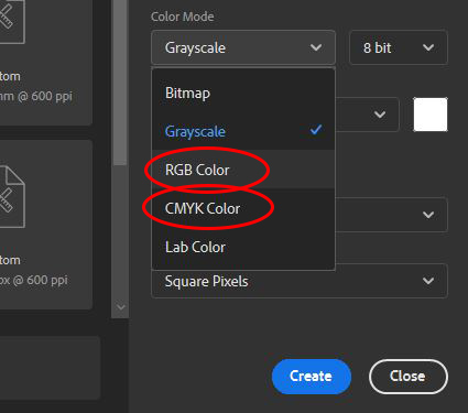 new document choose color mode photoshop