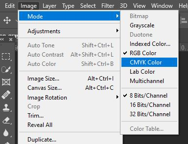 Select CMYK color mode photoshop