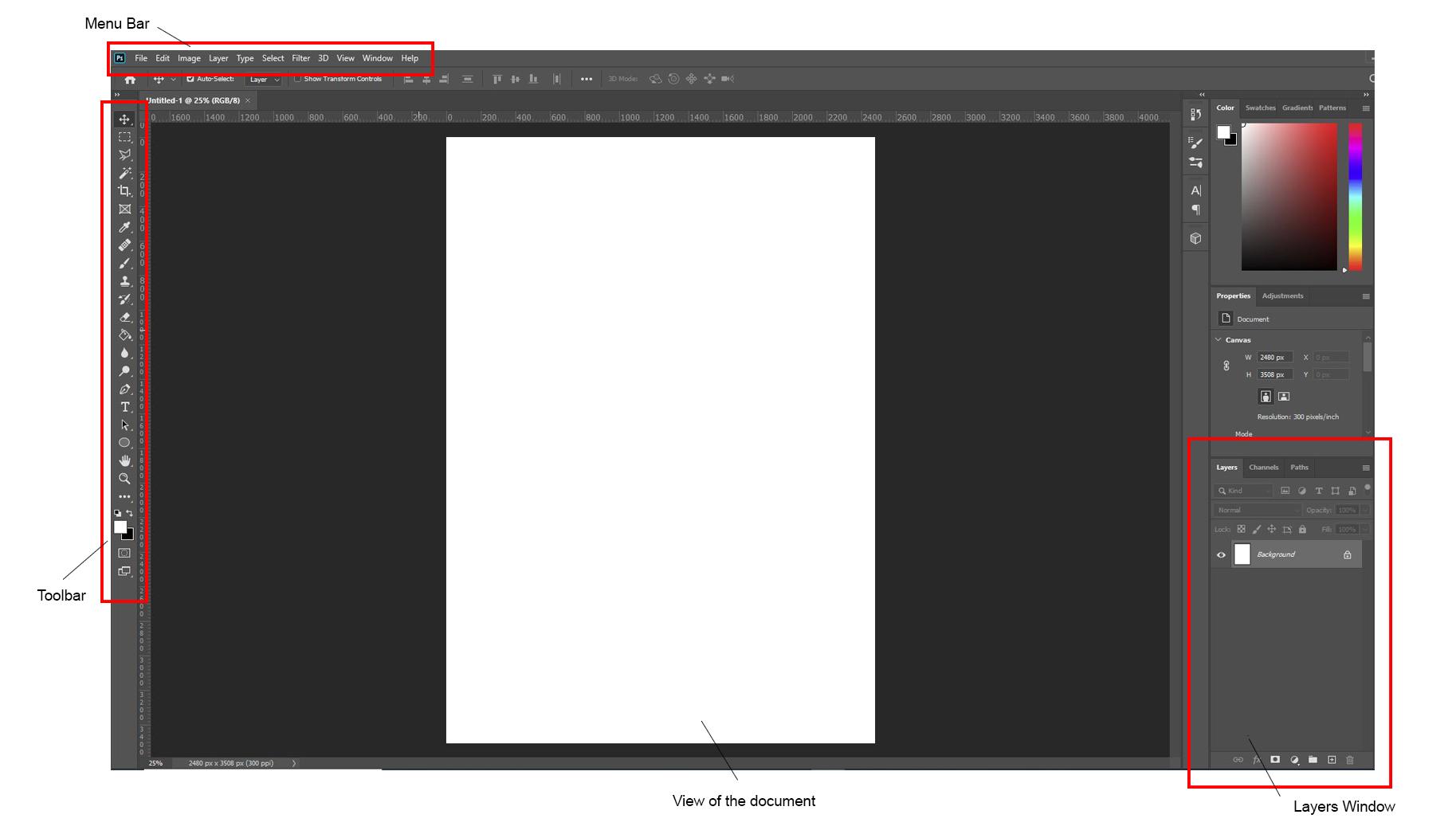 photoshop default workspace explained