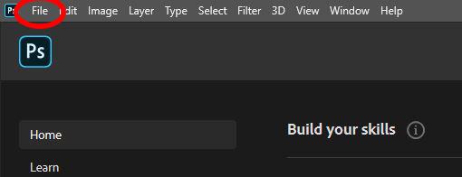 photoshop menu file