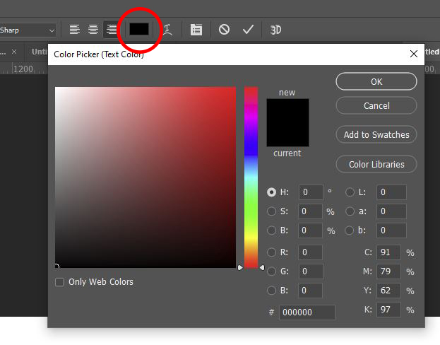 photoshop color text