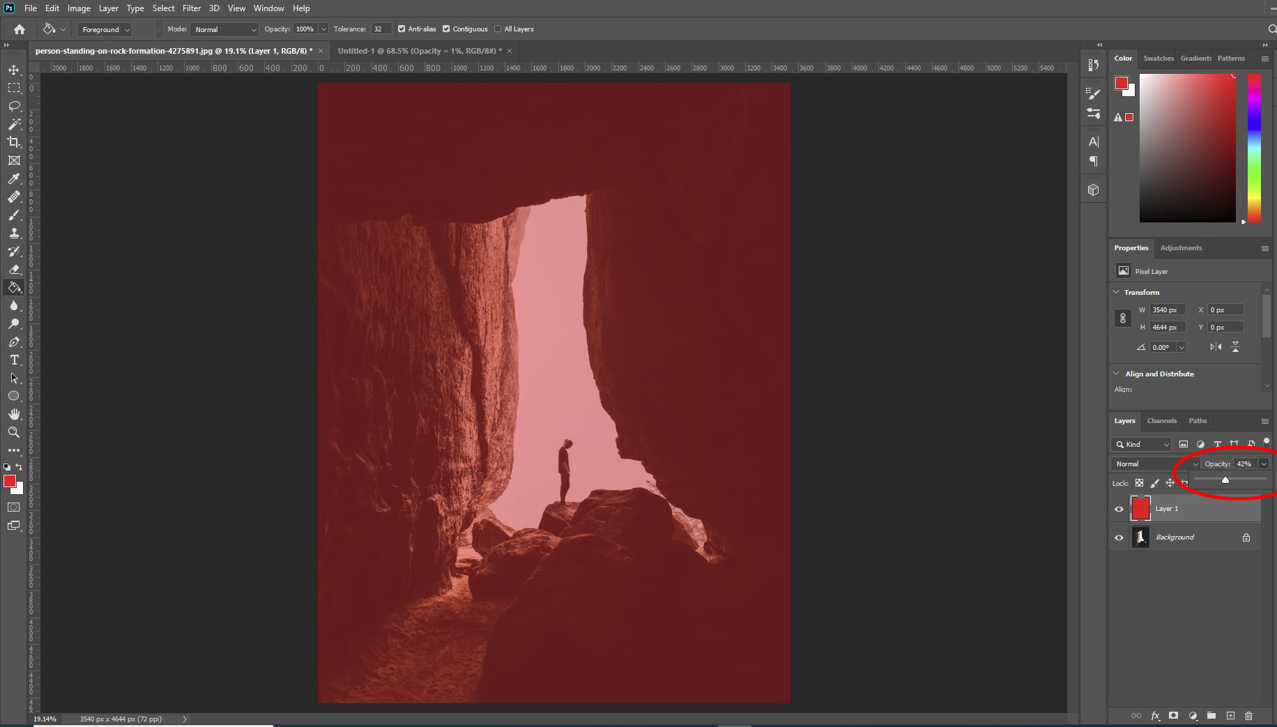 photoshop low opacity red layer