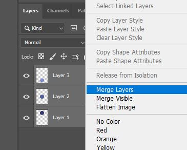 Photoshop merge layers option