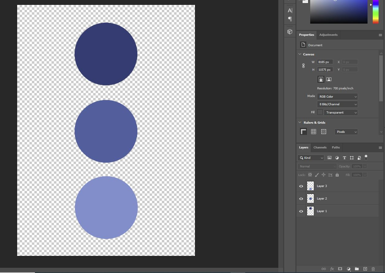 Photoshop blue dots image open
