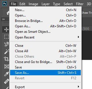 Photoshop menu save as