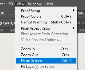 fit on screen view mode photoshop