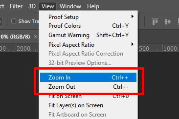 view zoom option photoshop
