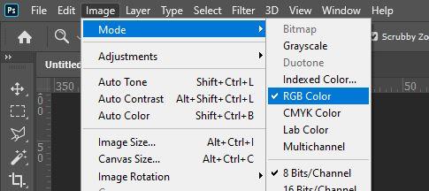 RGB mode image photoshop