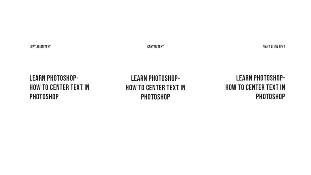 align text example photoshop